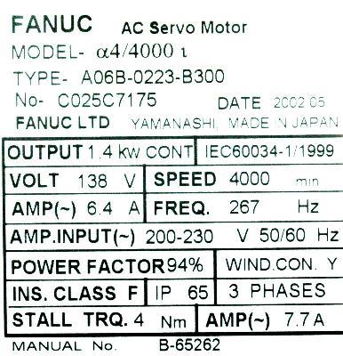 Fanuc A06B-0223-B300 Motors-AC Servo