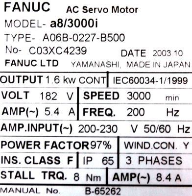 New Refurbished Exchange Repair  Fanuc Motors-AC Servo A06B-0227-B500 Precision Zone