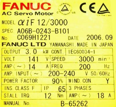 Fanuc A06B-0243-B101 Motors-AC Servo