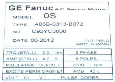 New Refurbished Exchange Repair  Fanuc Motors-AC Servo A06B-0313-B072 Precision Zone