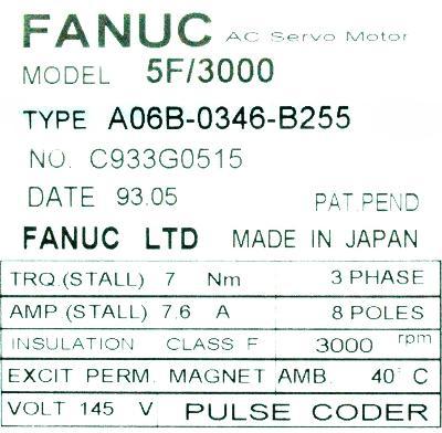 Fanuc A06B-0346-B255 label image
