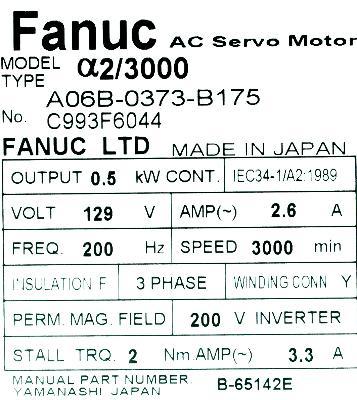 Fanuc A06B-0373-B175 label image