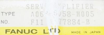 Fanuc A06B-6058-H005 label image
