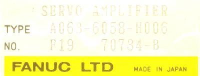 Fanuc A06B-6058-H006 label image