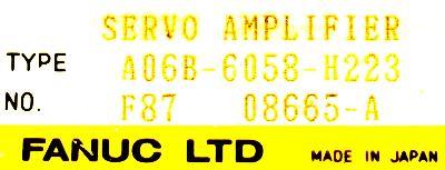 Fanuc A06B-6058-H223 label image