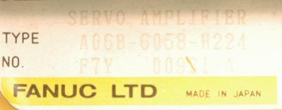 Fanuc A06B-6058-H224 label image