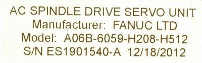 Fanuc A06B-6059-H208-H512 Drives-AC Spindle