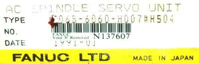 Fanuc A06B-6060-H007-H504 label image