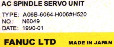 Fanuc A06B-6064-H006-H520 Drives-AC Spindle