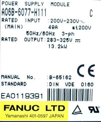 Fanuc A06B-6077-H111 label image