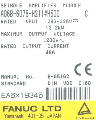 Fanuc A06B-6078-H211-H500 label image