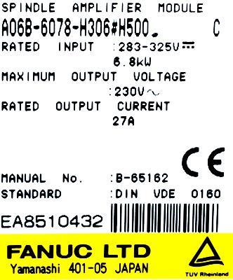 Fanuc A06B-6078-H306-H500 label image