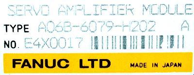 Fanuc A06B-6079-H202 label image