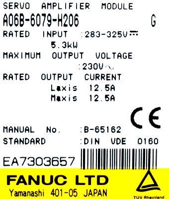 Fanuc A06B-6079-H206 label image