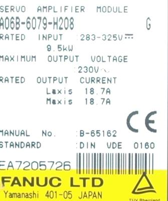 Fanuc A06B-6079-H208 Drives-AC Servo