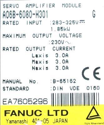 Fanuc A06B-6080-H301 label image