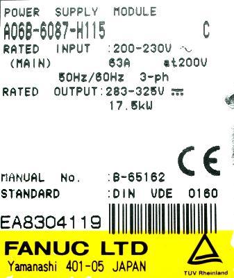 Fanuc A06B-6087-H115 label image