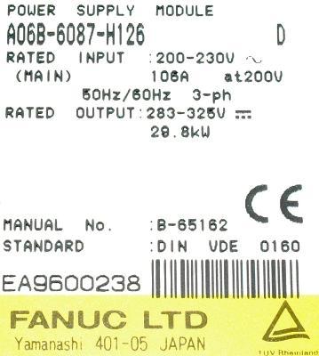 Fanuc A06B-6087-H126 label image