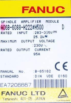 Fanuc A06B-6088-H222-H500 label image