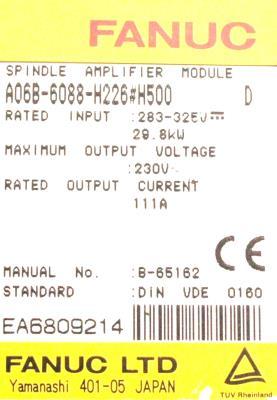 Fanuc A06B-6088-H226-H500 label image