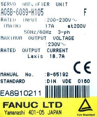 Fanuc A06B-6089-H105 label image