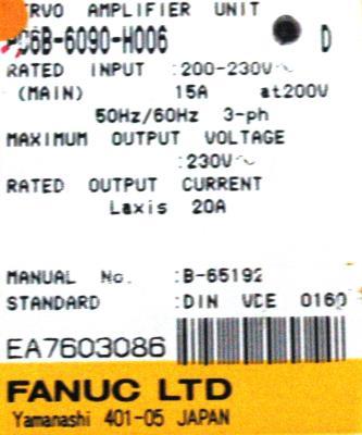 Fanuc A06B-6090-H006 label image
