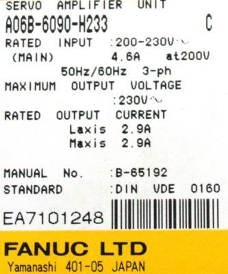 Fanuc A06B-6090-H233 label image
