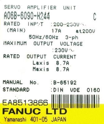 Fanuc A06B-6090-H244 label image