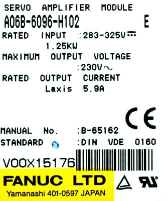 Fanuc A06B-6096-H102 label image