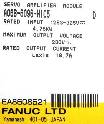 Fanuc A06B-6096-H105 label image