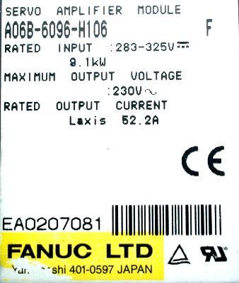 Fanuc A06B-6096-H106 label image