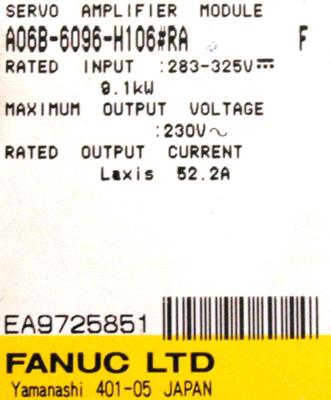 Fanuc A06B-6096-H106-RA Drives-AC Servo
