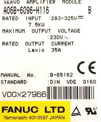 Fanuc A06B-6096-H116 label image