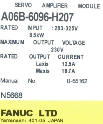 Fanuc A06B-6096-H207 label image
