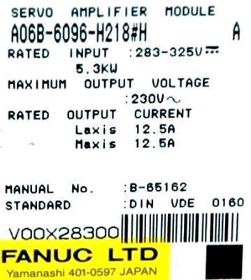 Fanuc A06B-6096-H218-H label image