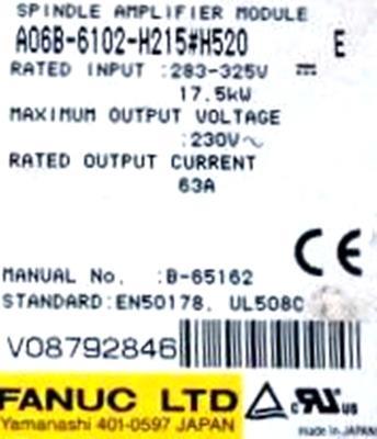 Fanuc A06B-6102-H215-H520 label image
