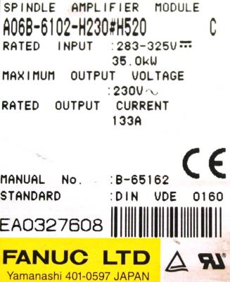 Fanuc A06B-6102-H230-H520 label image