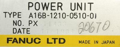 Fanuc A16B-1210-0510-01 label image