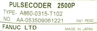 Fanuc A860-0315-T102 label image