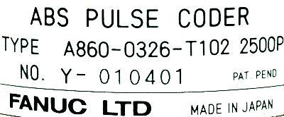 Fanuc A860-0326-T102 label image