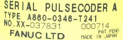Fanuc A860-0346-T241 label image