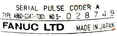 Fanuc A860-0347-T001 label image