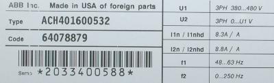 ABB ACH401600532 label image