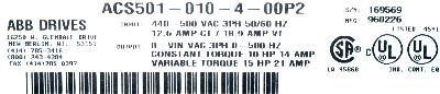 ABB ACS501-010-4-00P2 label image