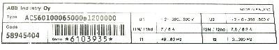 ABB ACS601-0006-5-000B1200000 label image
