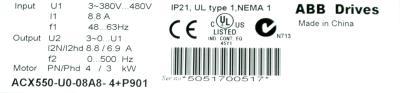 ABB ACX550-U0-08A8-4+P901 label image