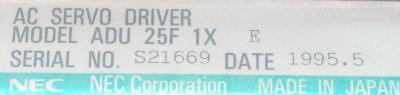 NEC ADU25F1XE label image