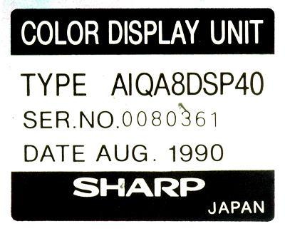 Sharp AIQA8DSP40 label image