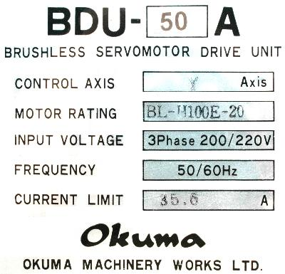 Okuma BDU-50A label image