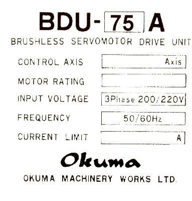 Okuma BDU-75A label image